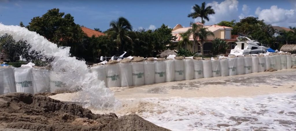 TrapBags as a temporary dike protecting a residential neighborhood