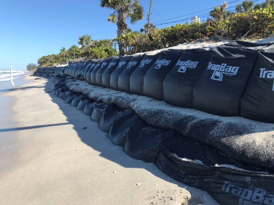 TrapBags used as an erosion control barrier in Sarasota, Florida