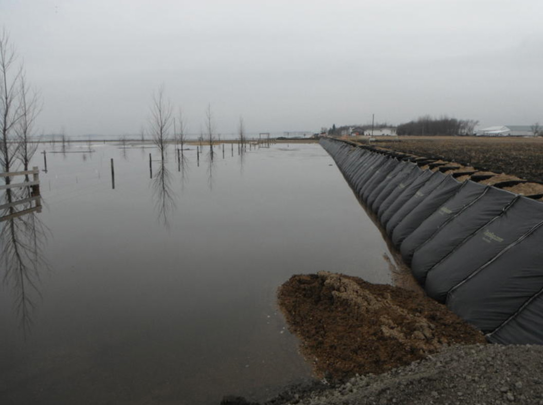 TrapBags used as a temporary levee
