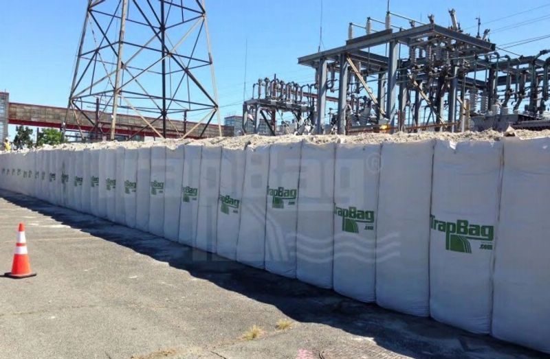 TrapBags set up outside a power station for infrastructure protection in Kearny, New Jersey