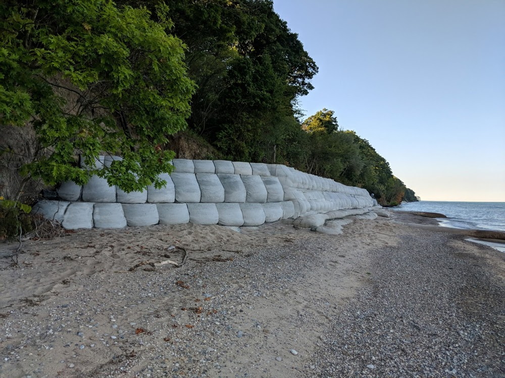 Retaining wall on beach