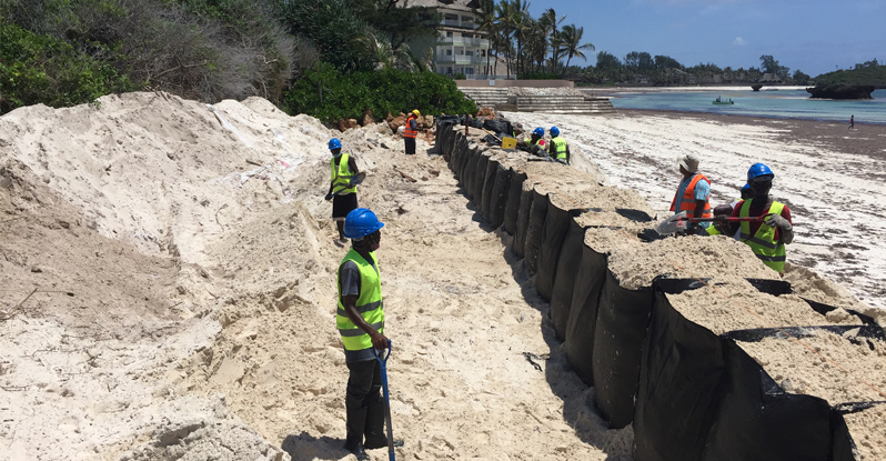 installing TrapBag barrier on Watamu Beach