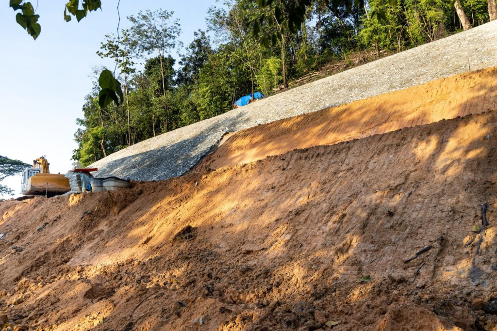 erosion barrier on slope