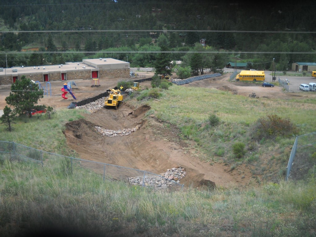 Mudslide and debris flow near Ute Pass Elementary in Manitou Springs, CO