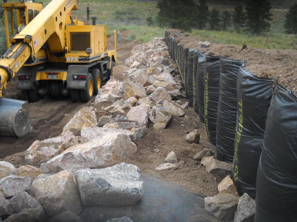 TrapBag control barrier wall in Manitou Springs, Colorado